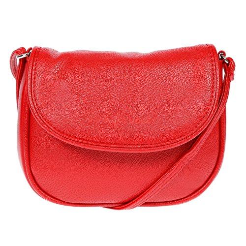 Christian Wippermann Kleine Damen Handtasche Schultertasche Umhängetasche 18 x 14 x 3,5 cm (Rot)