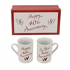 """Idea Regalo - H Samuel Juliana CM231 - Set 2 tazze per l'anniversario dei 40 anni di matrimonio con scritta """"On Your Ruby Anniversary"""" (per l'anniversario di rubino)"""