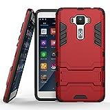 Zenfone 3 Deluxe (5.5 inch) ZS550KL Hülle, SATURCASE Hybrid 2 In 1 [PC & Silikon] Dual-Layer Stoßstange Schützend Tasche Hülle Schutzhülle Handycover mit Kippständer für Asus Zenfone 3 Deluxe (5.5 inch) ZS550KL (Rot)