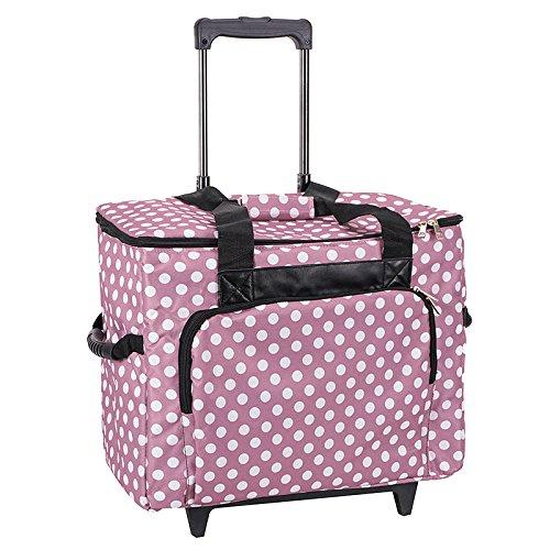 Unbekannt Nähmaschinen-Trolley, rosa-weiß im Polka Dots Design - Gepolstert - Teleskopstange - Strapazierfähiger Nähmaschinen-Koffer mit Rollen