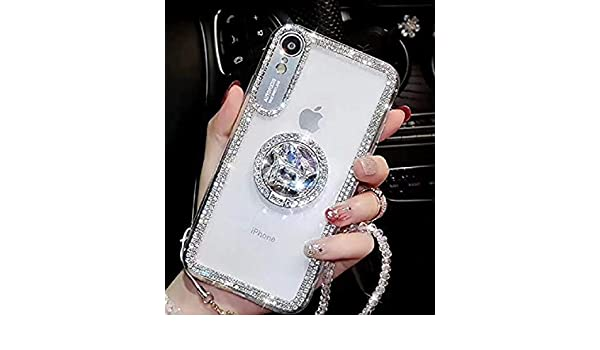 Cfrau Diamond Clear Case with Black Stylus for Samsung Galaxy A20//A30,Luxury Dazzling Bling Glitter Soft Bumper Cover with Crystal Ring Kickstand for Samsung Galaxy A20//A30,Gold