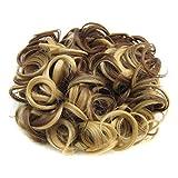 PIXNOR Moño rizado corto cabello moño extensión pelo peines Clip en la extensión de cola de caballo (marrón oro brillante)