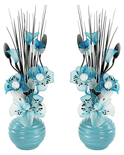 Flourish 794279 QH1 Matching Pair of Silver Vases with Teal Blue Nylon Artificia