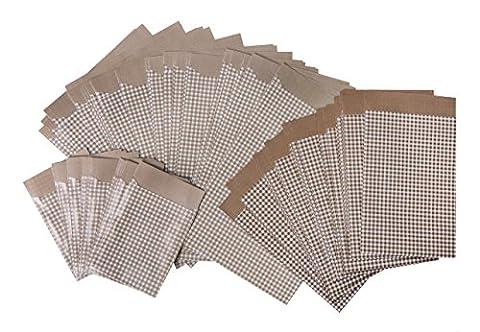 Set: 30 Stück braun beige weiß karierte Papiertüten Geschenktüten Tütchen in 3 Größen, je 10 Stück; Flache Papierbeutel nicht nur zu Weihnachten ein Hingucker