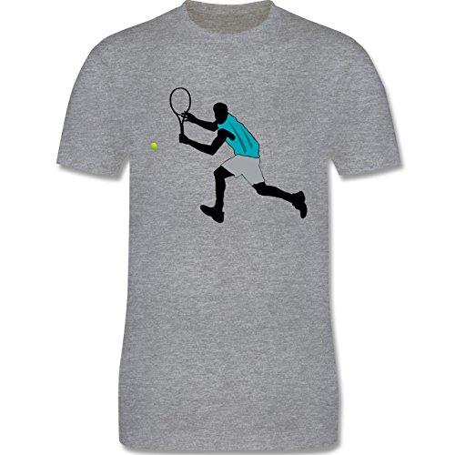 Tennis - Tennis Squash Rückhand - Herren Premium T-Shirt Grau Meliert