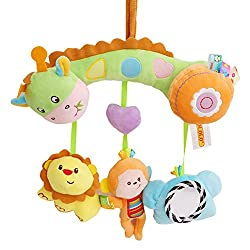 Lalang Mehrfarbig Baby Plüschtiere, Kleinkindspielzeug,Beschwichtigen Schlaf Spielzeug,Kinderwagen, der Spielzeugauto-Drehmaschine hängenden Baby Rasseln (Wald)