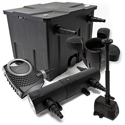 WilTec Kit de Filtration de Bassin Bio 12000l Stérilisateur UVC 18W 80W Pompe éco Fontaine Ecumeur