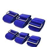 Nicky 6 Stück Blau Bänder für Dreibeinlauf mit Klettverschluss Elastisch Laufen Rennen Sport Party Spiel mit Spaß Familien Teamwork Nylon Klettverschluss 6 PCs