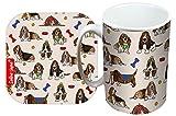 Selina-Jayne Basset Hound Limited Edition Designer Becher und Untersetzer-Set