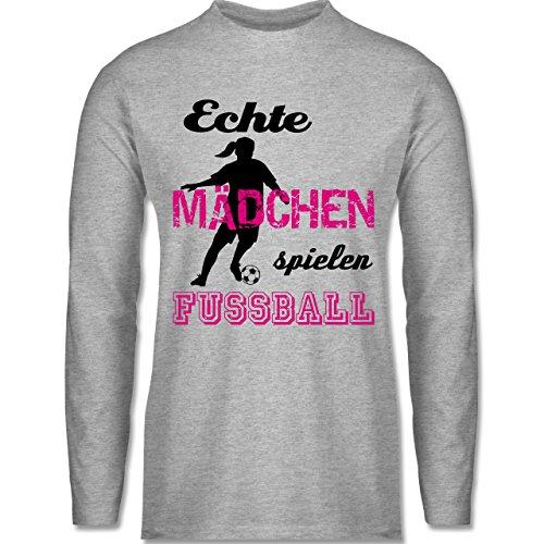 Fußball Echte Mädchen spielen Fußball Schwarz Longsleeve / langärmeliges  TShirt für Herren Grau Meliert