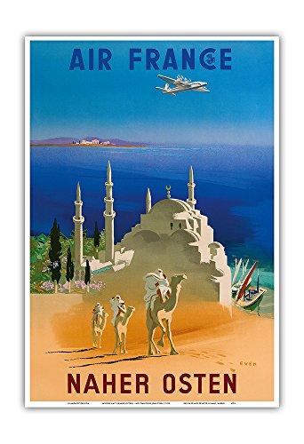 naher-osten-air-france-kamelreitende-berber-vintage-retro-fluggesellschaft-reise-plakat-poster-von-j