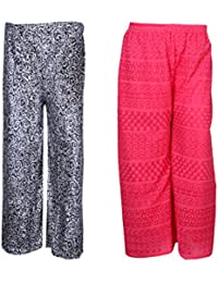 IndiStar Women Combo Pack (Pack Of 1 Digital Printed Valvet Pallazo And 1 Georgette Pallazo With Astar) - B078M67TMB