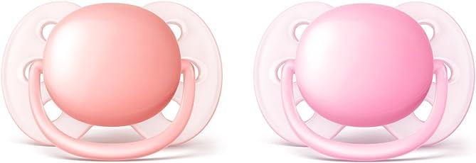Philips AVENT SCF213/20 2 Piece Ultra Soft Pacifier, 0-6 Months, Pink/Peach