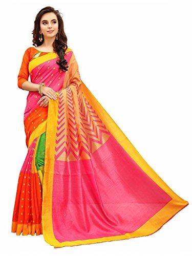 Esomic Cotton Silk Saree(Multicolor_Free Size)