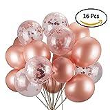JYOHEY Konfetti Luftballons Roségold Transparente Pailletten Latex Ballons Konfetti Ballon