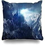 Decorative Throw Pillow Cover 16 * 16inch Medieval Snowcapped Mountains Between Castle Rendering Tower Fantasy Winter Dark Snow...