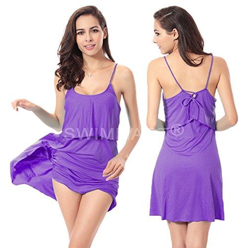 andyshi Frauen Sexy Back Kreuz Kabelbinder Cover-Up Volants Top Neckholder Strand Kleid Violett