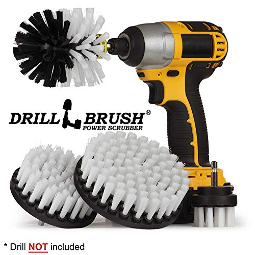 Automotive Soft White - Drill Brush - Leather Cleaner - Kit Car Wash - Forniture Auto a Secco - Cleaner Wheel Brush - Car Kit Detailing - Interior, Vinile, Tappezzeria, Tessuto della sede Cleaner