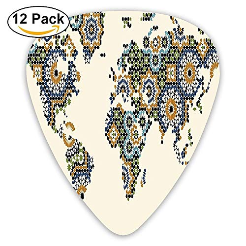 Ethnic Thailand Style Nostalgic Medieval Scroll Asian Arts Design With Floral Forms Guitar Picks 12/Pack Set -