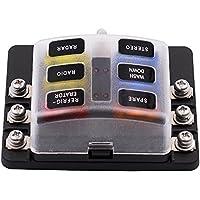 TopTen Caja de fusibles para coche con tapa de protección e indicador LED para coche, barco, barco, camión, camión, vehículos, 6-Way, 10.5cm x 4.3cm x 6.3cm