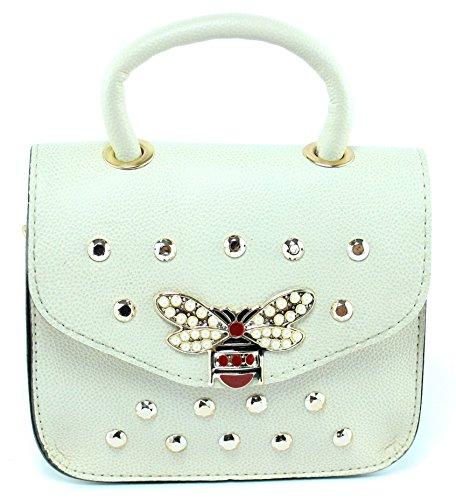 Outfit Bag Stylische Kleine Damen Umhängetasche Schultertasche Handtasche in Creme mit Kette aus Gold und Schöne Elegante Accessoires aus PU Leder (Gucci-tasche)