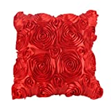Ouneed Beautiful Floral Decorative Satin Throw Sofa Pillow Case Cushion Cover (Red)
