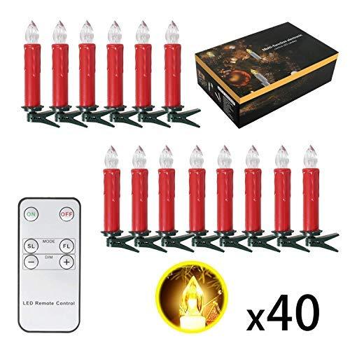 Sunjas 2 Set Filo di Luci LED, con Clip, 20 Punti Luce a Candela, Decorazione per Albero di Natale Holloween Festa, R