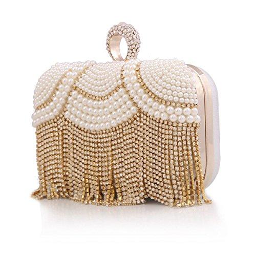 Signore Di Modo Solido Colori Di Alta Qualità Catena Pearl Diamond Bag Party Gold