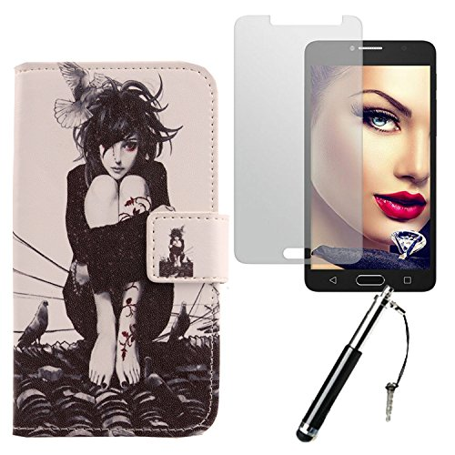 Lankashi Roof Girl Design 3in1 Zubehör Set PU Flip Leder Tasche Für Alcatel One Touch Pop 4S 5.5