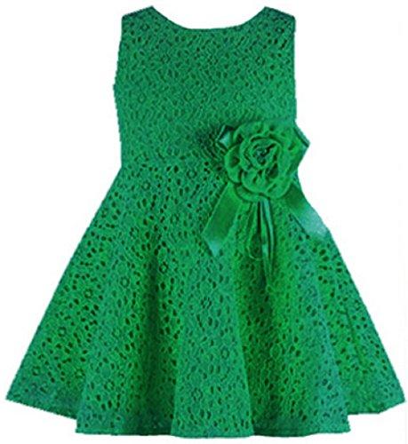 AGOGO Mädchen Kinder Kleider (0-7 Jahre alt) Festlich Brautjungfern Kleid Prinzessin Hochzeit Party Kleid Spitze Spleiß Festzug (130(6-7 Jahr), Grün)
