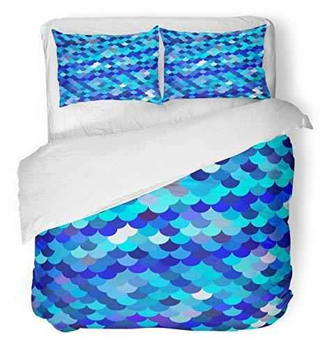 3 Stück Bettbezug-Set atmungsaktiv gebürstetem Mikrofasergewebe Fisch blau Dachziegel Muster kreative Designvorlagen Skala abstrakte Block Kreis Bettwäsche Set mit 2 Kissenbezüge Full / Queen-Size
