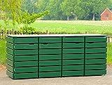 4er Mülltonnenbox/Mülltonnenverkleidung 240 L Holz, Deckend Geölt Tannengrün