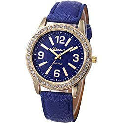 WINWINTOM Women Stainless Steel Analog Leather Quartz Wrist Watch Navy Blue