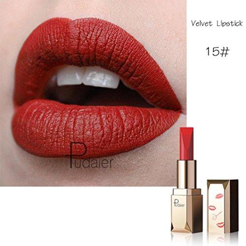 Tefamore Nouveau Rouge à Lèvres Longue Durée Imperméable à L'Eau Mat Liquide Lip Gloss Lip Liner cosmétiques (15#)