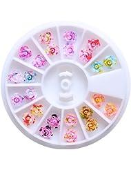 RoseFlower® Carrousel Argente Strass thermocollant multicolore tranparent à repasser - 3D DIY Décoration de l'art des ongles