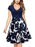 Miusol Damen Elegant Wickelkleid Kurzarm Blume Patterned Casual Kleid Navy Blau L