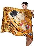 Prettystern - 100 Cm XL Crepe Satin Handroulier Malerei Golden Seidentuch - Gustav Klimt - Kuss P335