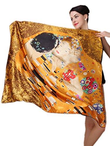 Prettystern - 100cm XL Donne Foulard di Seta Quadrato Con Pittura Art Nouveau Gustav Klimt - Bacio