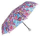 Ombrello Pieghevole Donna - Ombrello Mini Portatile - Con stampa Cuori - Resistente Compatto e Antivento - Diametro 97 - Perletti - Azzurro