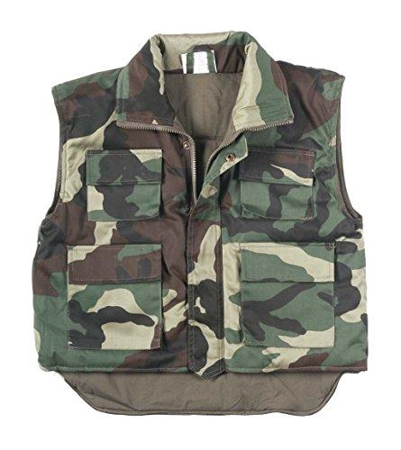 Ärmellose wattierte Kinder Thermo-Weste im US Style Ranger Steppweste Anglerweste in verschiedenen Farben M--XXL (L, Woodland) (Armee Ranger Kind Kostüme)