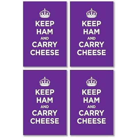 Confezione di Adesivi in Vinile lucido: Il prosciutto Carry formaggio lilla lavanda KEEP CALM WW2WWII parodia cartello (4adesivi, 10,5x 7/4.1x 2.8in)