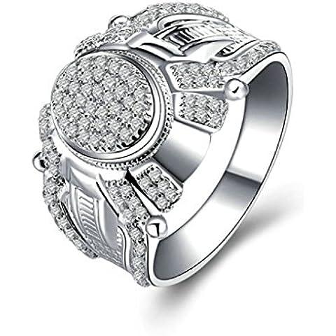 (Personalizzati Anelli)Adisaer Anelli Uomo Argento 925 Anello Fidanzamento Incisione Gratuita Ovale Doppio Anello Diamante