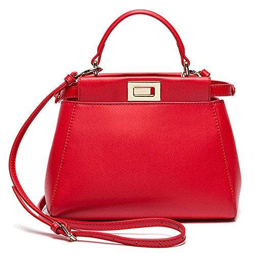 Xinmaoyuan Borse donna Vacchetta Borsette Borsa gattino borsa messenger in pelle fibbia Borsa Borsa a tracolla Rosso