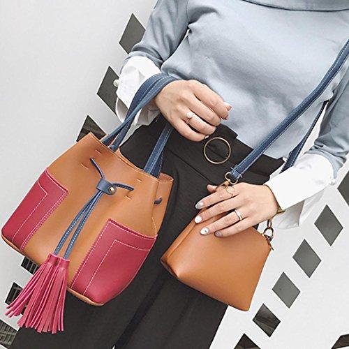 2PCS Borsa donne , feiXIANG Donne due pezzo spalla borsa maniglia borse moda Messenger borse borsa,cuoio del PU (Bianco) Marrone