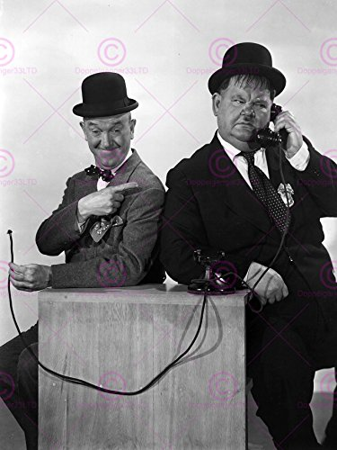 Doppelganger33 LTD Vintage Photography Portrait Stan Laurel Oliver Hardy Comedians Canvas Art Print Vintage Laurel
