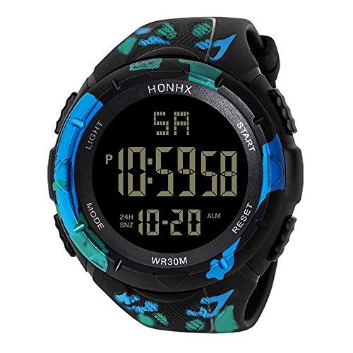 LABIUO Digitale Sportuhr, Uhr für Männer Military Outdoor Sport LED Wasserdichte Uhren elektronische Armbanduhr(A,Einheitsgröße)