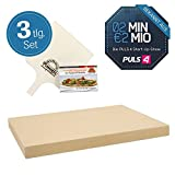 Pimotti Pizzastein 3cm inkl Rezeptheft Pizzaschaufel | Pizzaboden Pizza cross backen | Pizza daheim wie im Steinofen | Das Original aus dem TV 2 Minuten 2 Millionen powered by Mediashop
