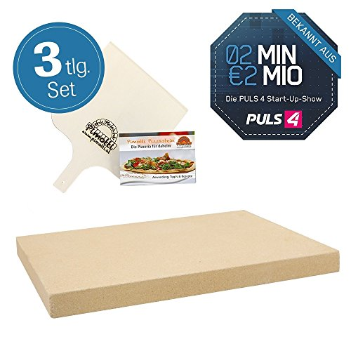 Pimotti Pizzastein 3cm inkl Rezeptheft Pizzaschaufel |...