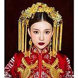 LIUXINDA-TS Tocado Dorado de la Boda Corona China de Phoenix Costume Costume Traje de Boda Accesorios para el Cabello, rubí