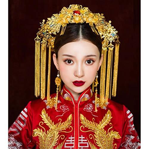 LIUXINDA-TS Hochzeit vergoldete Kopfschmuck chinesischen Phönix Krone 帔 帔 Hochzeit Kostüm Haarschmuck, - Phoenix Kostüm